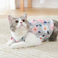 Cat Costumes Floral Chiffon Dress Summer Korean Elegant Y2K Dog Pet Clothes French Janpan Style Boho Fashion Beach Puppy Print Sundress