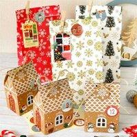 Noel Hediye Sarma Kraft Kağıt El Kutusu Pişirme Çantası Şeker Snack Gıda Çay Karton Nougat Bisküvi Kutusu Custom Made
