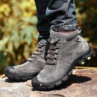 Boots Fashion Winter Men's Warm Plush Men Snow Genuine Leather Sneakers Lace-Up Ankle Outdoor Zapatos De Hombre