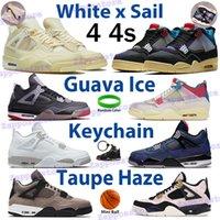الأبيض x sail bred 4 4s الرجال basektball أحذية الجوافة الجليد نومر الرياضة رياضة oreo الليمون الوردي الراستا taupe ضباب النساء المدربين مع سلسلة المفاتيح