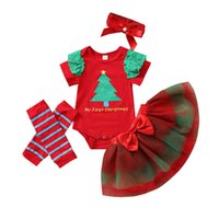 Baby Clothing Sets Girls Outfits Infant Clothes Children Kids Summer Christmas Tree Letter Printed Romper Jumpsuit Tutu Skirts Leg Warmers Headbands 4pcs B7473