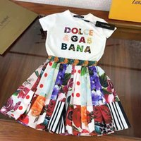 flower girl dress white color 2pcs cute baby girls outfits 2021 designer child toddler clothes suits cotton material size 110-160 cm