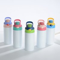 Wholesale supply 12oz sublimation Tumbler neon kids blanks vacuum Insulated baby bottle Straight child cup tumblers for white sub transfer
