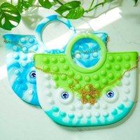 Sensorisk silikongummi fidget tryck popbubbla handväska gummi plånböcker handväska regnbåge slips färgfinger brädspel pussel barn barn kosmetika förvaring väska g96d3nd
