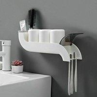 Toothbrush Holders Slide Wall Mount Holder Suction Cup Sucker Hooks Organizer Rack For Bathroom