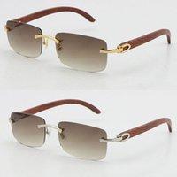 Atacado Rimless 3524012 Óculos de sol Boa madeira feita vintage retrô mulheres de madeira óculos de sol venda verde lente tamanho 56-18-135mm unisex