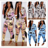 Donne Tracksuit 2 pezzi Set Set Sweatsuit Outfit Giornale Stampa T-shirt Pullover Bodycon Leggings Pantaloni Plus Size Abbigliamento estivo Plus Size