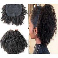 100% человеческие волосы хвост афро страдающий кудрявой хвост монгольские волосы девственницы для волос для волос на раскатывание волос натягивание 100 г 120 г 140 г 8-24 дюйма