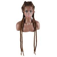 Perucas trançadas artesanais 30 polegadas peruca dianteira de renda sintética para mulheres negras Cornrow tranças perucas de renda com caixa de cabelo Baby Braid Wig 613 cor