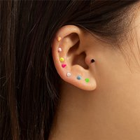 Avrupa Geometrik Şeker Renk Sopa Retro U-Şekilli Kombinasyon Saplama Küpe Kadınlar Paslanmaz Çelik Renkli Kulak Tırnak Takı Aksesuarları Toptan