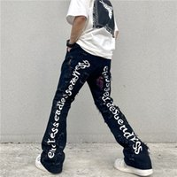 High Street Letter Embrodiery Washed Jeans Pants Mens and Womens Oversize Straight Casual Baggy Denim Trousers