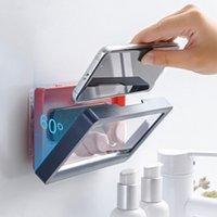 Casa parede à prova d 'água caixa de telefone móvel auto-adesivo titular touch screen banheiro shell casca de banho de vedação de banho