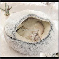 Beds Furniture Supplies Home & Garden Style Pet Dog Round Cat Warm Bed House Soft Long Plush Small Dogs For Cats Nest 2 In 1 Drop Delivery 2
