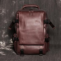 Backpack Nesitu High Quality A4 Coffee Black Genuine Leather 14'' Laptop Women Men's Cowhide Male Travel Bags M1034