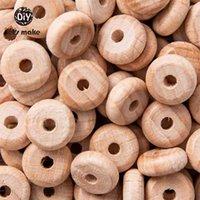 Hagamos 100 unids ABACUS Beads Baby Wood Teether Lentil Balls Natural Lentil Balls Perle DIY DIÉN COLLAJE DE ENFERMEROS DE JUEGO 210812