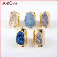 Borosa Fashion Lady Ovale Crystal Natural Crystal Titanium Rainbow Druzy Geode Giao Bancia Band Band Band Gioielli G890