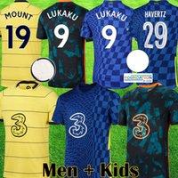 CFC 2021 2022 Jerseys de futebol away 21 22 22 Lukaku Camisa de futebol Chelsea Kits Kante Pulisic Havertz Abraham Odoi Ziyech Homens + Crianças Terceira Jersey Tops Uniforme