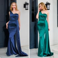 Satin Evening Dresses for Women, One Shoulder Fit and Flare Train on Waist Boned Bodice Formal Prom Party Bridesmaid Gowns