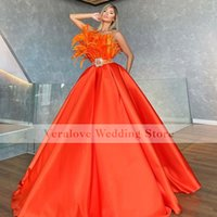 Orange Prom Dress Ball Gown Sweetheart African Black Girl Formal Evening Gowns with Feather Satin Vestidos De Party Gown