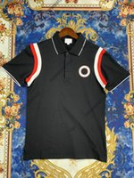 ropa de verano ropa para hombre polo clásico estilo patchwork letra letra impresión t-strip imprenta t shirts casual turn-down collar tshirt 2 color