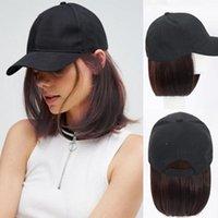 Synthetic Wigs LVHAN Natural Black Knit Hat Naturally Adjustable Baseball Cap Short Wig Hair