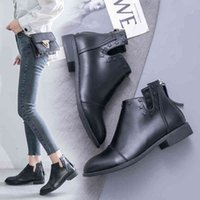 Boots Black martin boots with zipper, plus size, women's leather boots, casual, large autumn and winter, R4X8