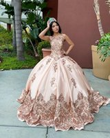 2021 Sexy Rose Gold Blush Pink Quinceanera Dresses Ball Gown Sequined Lace Beads Sleeveless Plus Size Sequins Sweet 16 Formal Party Prom Evening Gowns