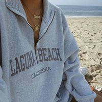 Women's Hoodies & Sweatshirts Fashion Women 2021 Autumn Casual Zipper Lapel Letter Hoodie Embroidered Pullover Loose