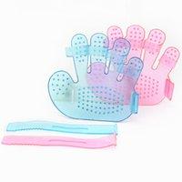 Pet Bakım Duş Fırçası Tarak Banyo Masaj El Şekilli Eldiven Tarak Mavi Pembe Evcil Hayvan Temizleme Plastik Fırçalar WY1330