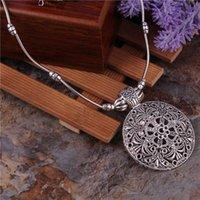 yutong yutong jóias tibetanas vintage prata banhado bohemian oco esculpido pingentes redondos colares colares de cadeia para mulheres bijouterie femme
