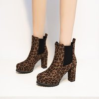 Boots Leopard Ankle High Heel Women Shoes Suede Pointed Toe Heels Sexy Thick Slip-on Short Botines Mujer