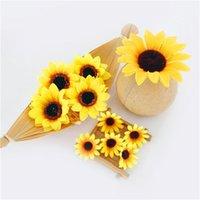 10pcs 7cm 도매 Lagre 실크 해바라기 인공 꽃 머리 미리 환경 Scrapbooking 액세서리 가짜 524 v2