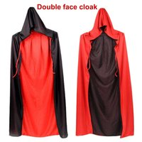 Halloween Reversible Hooded Cape Cloak Unisex Adult Children Cosplay Vampire Costume Red and Black Face Stand-up Collar Death Makeup Props