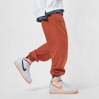 Calças masculinas calças casuais masculino hip hop jogador sweatpants moda streetwear movimento enorme restrição pés nono