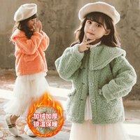 Jackets Girls' Coat Kids Jacket Underwear 2021 Elegant Plus Velvet Thicken Warm Winter Autumn School Cotton Fleece Children's Clothing