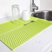 Mats & Pads Drain Mat Kitchen Silicone Dish Drainer Large Sink Drying Worktop Organizer For Dishes Tableware