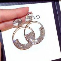 كريستال استرخى أقراط دائرة دوارة زهرة الاسترليني فضة إبرة المبالغة من نوعها مجوهرات المساء للنساء