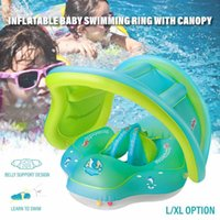 Inflatable Baby Swimming Ring Toddler Floating Swim Pool Water Seat Boat Canopy PVC Infant Children Circle Sunshade L XL Life Vest & Buoy
