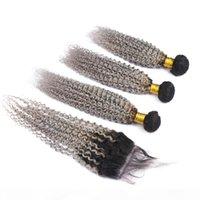 Оммре серебристо-серый бразильский человеческие пачки волос темный корень с закрытием kinky вьющиеся вьющиеся # 1b серые волосы девственницы ambre с кружевной крышкой 4x4