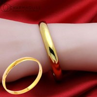 Bangle Gold  Silver Color Charm Bangles For Women 6mm Smooth Round Cuff & Bracelet Pulseira Femme 2021 Trendy Jewelry Bijoux