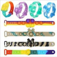 Silicone arcobaleno spinta la bolla Polsino Dimples Dimples Braccialetto Fidget Sensory Toy Dito Decompressione Gioco Stress Reliever Giocattoli educativi all'ingrosso
