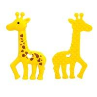 Neue Giraffe-Zähne Silikon Kinderkrankheiten Baby Safe Anhänger Halskette Kaubare Perlen Nette Sika Hirsch Beißring Pflege Spielzeug Dusche Geschenke CCF6400