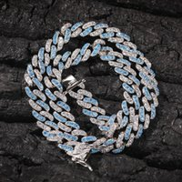 European And American Cross-border Explosion Models 8mm Micro Inlaid Sea Blue Zircon Cuban Necklace Bracelet Hip Hop Trend Acces Chains