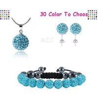 Factory 10mm crystal clay fasion new arrival disco 10Pcs lot bead Rhinestone shamballa Set bracelet necklace studs ear