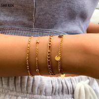 Charm Bracelets SHIXIN 4 Pcs Simple Layered Bangles Set For Women Trendy Hand Thin Chains Jewelry Bohemia 2021 Fashion Gift