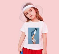 على الانترنت الصيف طفل قميص بوي فتاة تي شيرت زهرة ريشة النفط اللوحة خمر طباعة بسيط تصميم هاراجوكو تي شيرت الاطفال