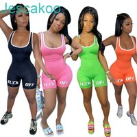 Sexy Women Jumpsuits Rompers Letter Printed Yoga Pants Outfits Designer Short Pants Onesies Sleeveless Skinny Female Casual Bodysuit
