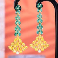 Dangle & Chandelier GODKI Iced Out Hip Hop Big Earrings For Women Wedding Miami Prong Cuban Chain Link Cubic Zirconia CZ Set Chains