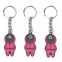 Stainless Steel Squid Game Key chain Accessories Soldier Triangle Series Creative Charms Cosplay KeyRing Car Backpack Pendant Gift