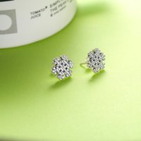 Authentic 925 Sterling Silver Shiny snowflakes Earring Signature Original Box set for Pandora Jewelry Stud Women s